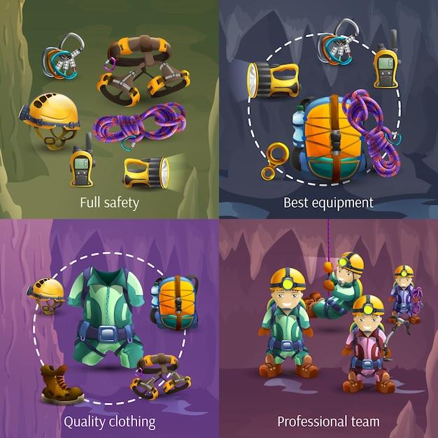 Speläologie 4 quadratische fahne der ikonen 3d Kostenlosen Vektoren
