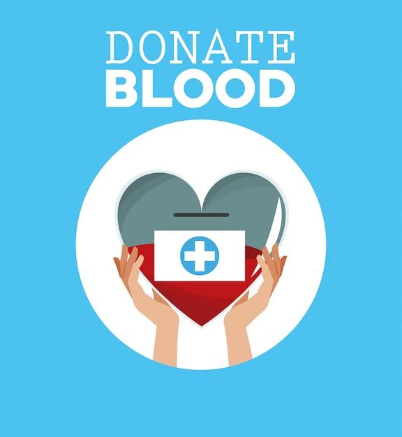 Spenden blut hand hält herz Premium Vektoren