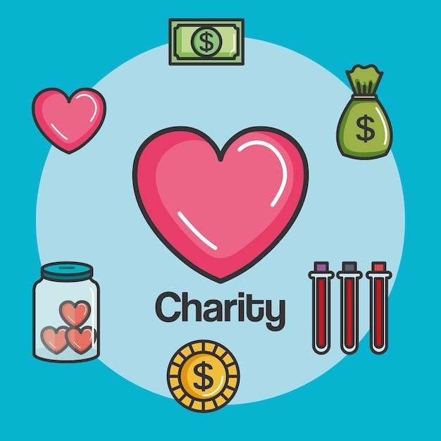 Spenden-charity und freiwilligenarbeit Premium Vektoren
