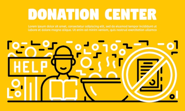 Spendencenter banner, umriss-stil Premium Vektoren