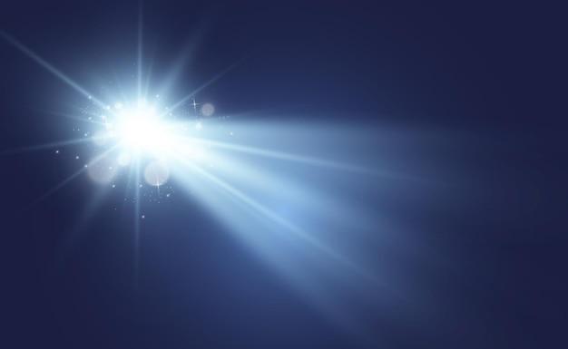 Spezieller objektivblitz, lichteffekt. der blitz blinkt strahlen und suchscheinwerfer. Premium Vektoren