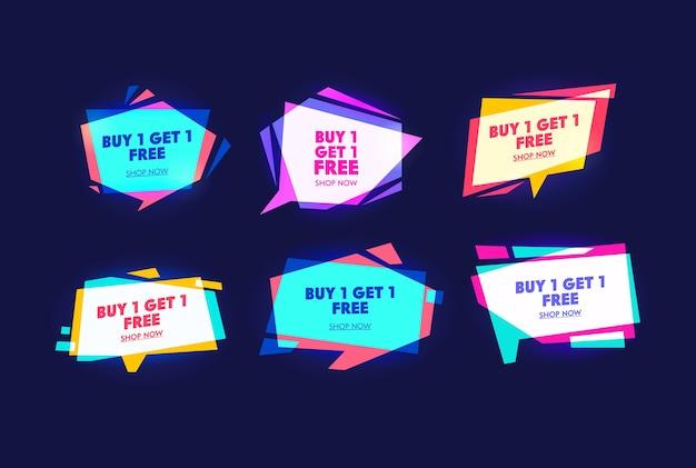 Spezielles kommerzielles kampagnen-typografie-bannerset. kaufen sie ein stück und erhalten sie ein weiteres gratis. wochenend- und feiertagseinkauf Premium Vektoren