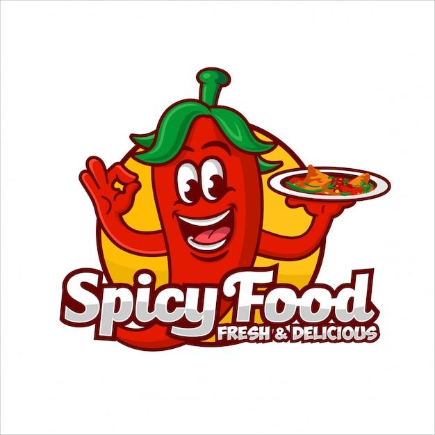 Spicy food logo design illustration Premium Vektoren