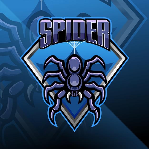 Spider esport maskottchen logo design Premium Vektoren
