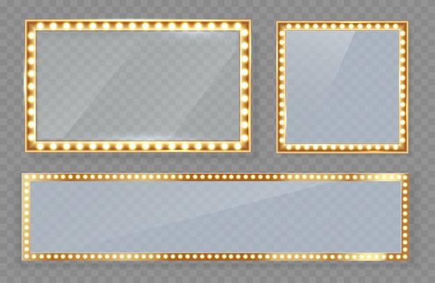 Spiegel in einem rahmen mit make-up-highlight mit goldenen lichtern. Premium Vektoren