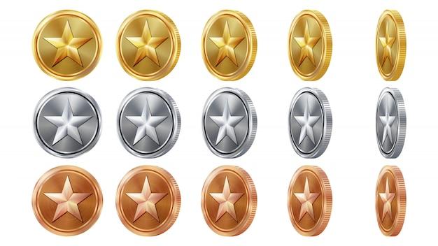 Spiel 3d gold-, silber-, bronzemünzen Premium Vektoren