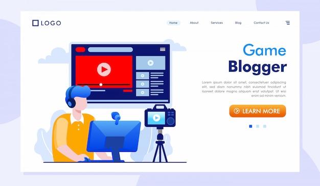 Spiel blogger landing page website illustration Premium Vektoren
