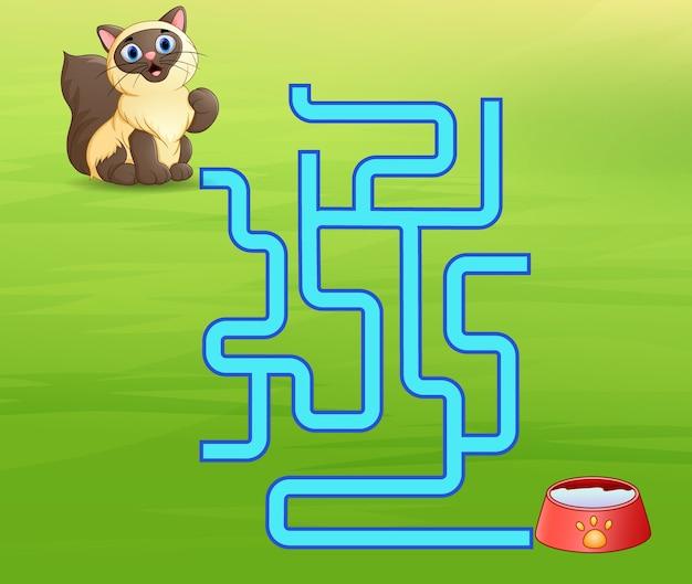 Spiel katzen labyrinth finden weg zur milch Premium Vektoren