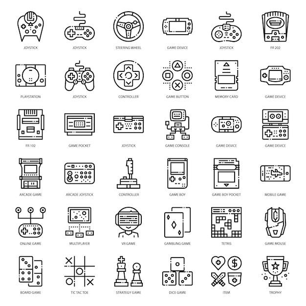 Spiel technologie umriss-symbol Premium Vektoren