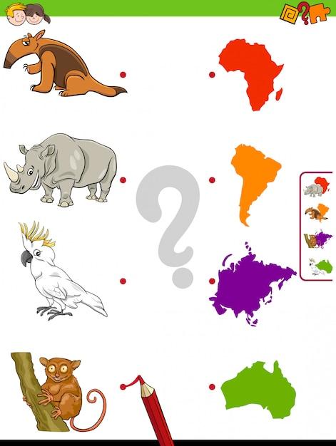 Spiel tiere und kontinente lernspiel für kinder Premium Vektoren