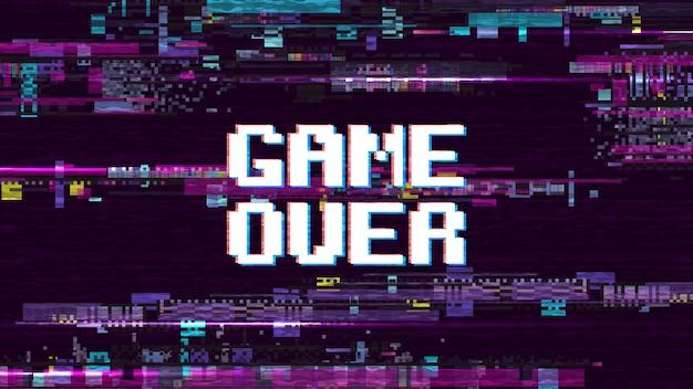 Spiel über fantastischem computerhintergrund mit effekt-vektorschirm der störschubgeräusche retro-. spiel über pixelanzeige, videocomputertextillustration Premium Vektoren