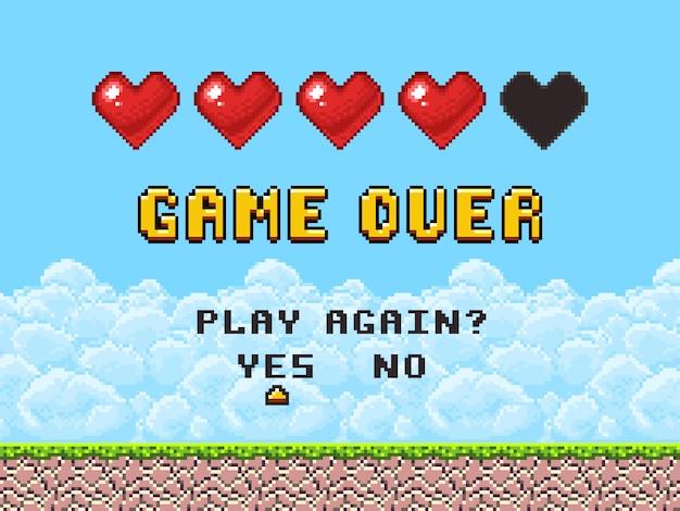 Spiel über pixelkunst-arcade-bildschirm Premium Vektoren