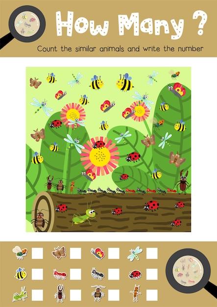 Spiel von insektenwanzentieren zählen Premium Vektoren