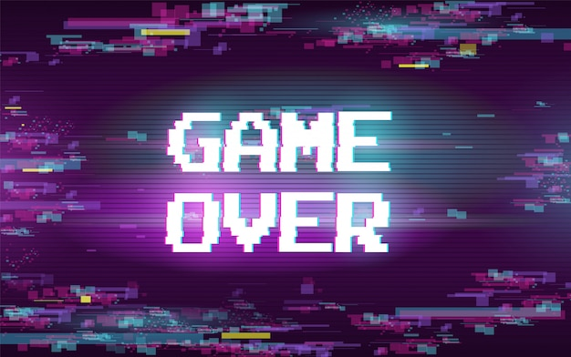 Spiel vorbei mit glitch-effekt Kostenlosen Vektoren