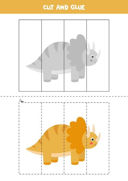 Spiel zum ausschneiden und einfügen für kinder. netter dinosaurier-trice-raptor im cartoon-stil. schneidpraxis für kinder. Premium Vektoren