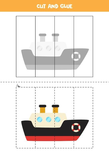 Spiel zum schneiden und kleben für kinder mit cartoonschiff. schneidpraxis für kinder im vorschulalter. Premium Vektoren