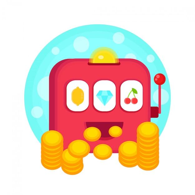 Spielautomat isoliert auf whte. Premium Vektoren
