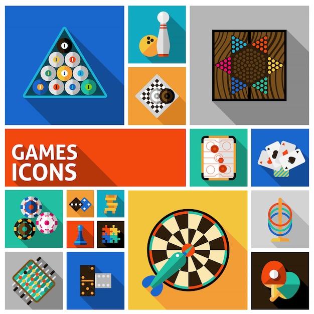 Spiele icons set Kostenlosen Vektoren