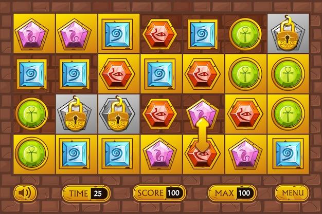Spiele im ägyptischen stil. egypts wertvolle mehrfarbige steine, symbole für spielobjekte und goldene knöpfe Premium Vektoren