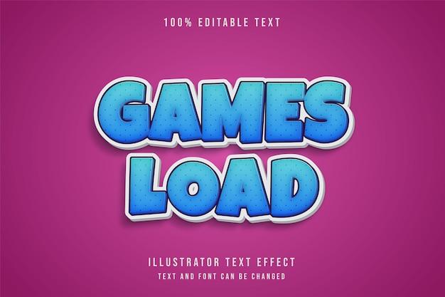 Spiele laden, bearbeitbarer texteffekt blaue abstufung comic schatten textstil Premium Vektoren