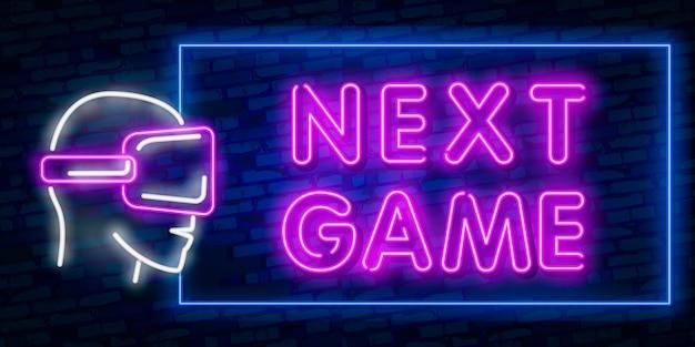 Spiele, über neon-text mit controller Premium Vektoren