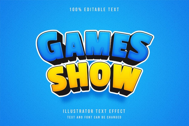 Spiele zeigen, 3d bearbeitbarer texteffekt blaue abstufung gelber comic-effekt Premium Vektoren