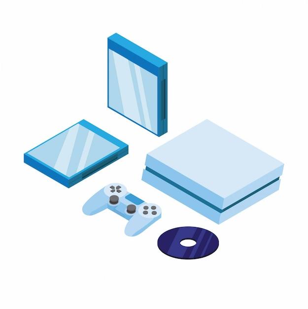 Spielekonsolen-set, joystick-cd und cd-hülle in isometrischer darstellung editierbar Premium Vektoren