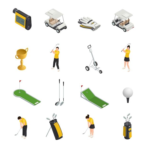 Spielen sie die farbigen isometrischen lokalisierten ikonen, die vom golfspielerzubehör und -ausrüstung eingestellt werden Kostenlosen Vektoren