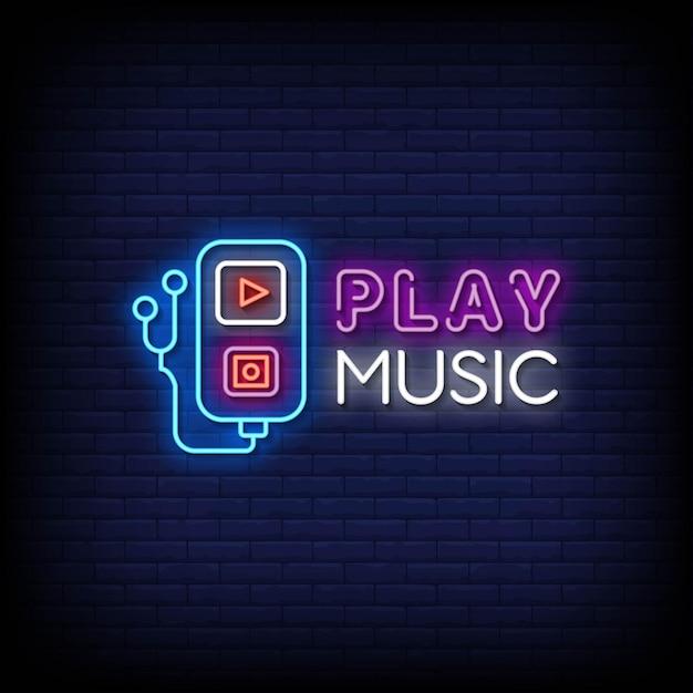 Spielen sie musik neon signs style text Premium Vektoren