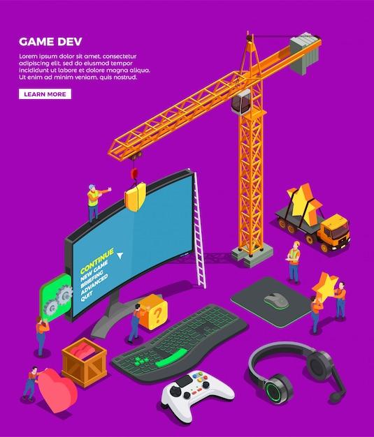 Spielentwicklung isometrische komposition mit großbild-tastatur-joystick für videospielkopfhörer und kran als symbol der spielebranche Kostenlosen Vektoren