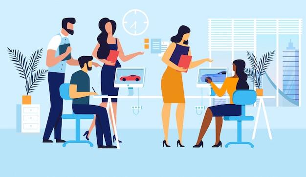 Spielentwicklung team flat illustration Premium Vektoren