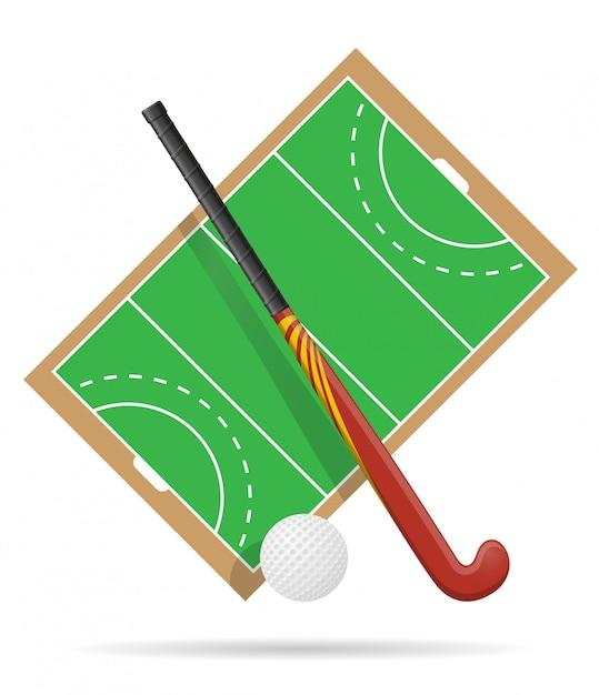 Spielfeld im hockey auf gras. Premium Vektoren