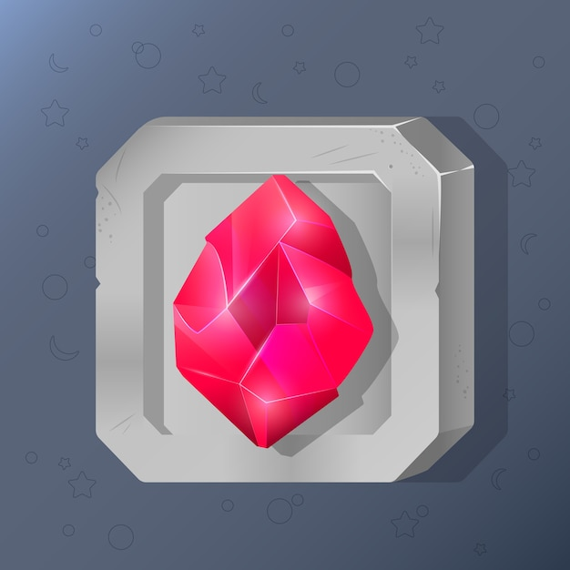 Spielikone des kristalles in der karikaturart. Premium Vektoren