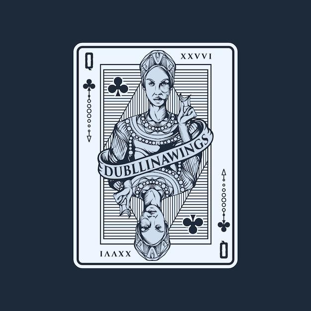 Spielkarte-illustrationsschablone der königin Premium Vektoren