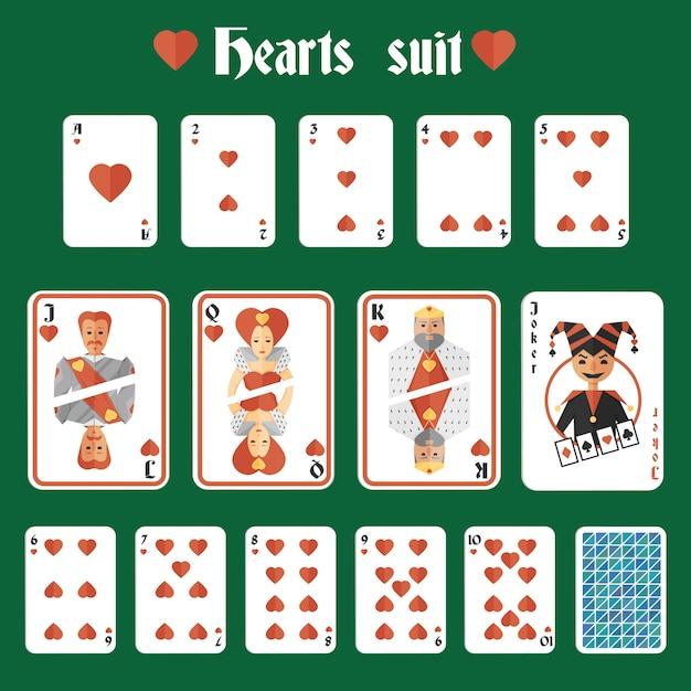 Spielkarten herzen roten anzug set joker und zurück isoliert vektor-illustration Kostenlosen Vektoren