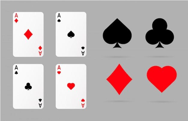 Spielkarten und pokersymbole Premium Vektoren