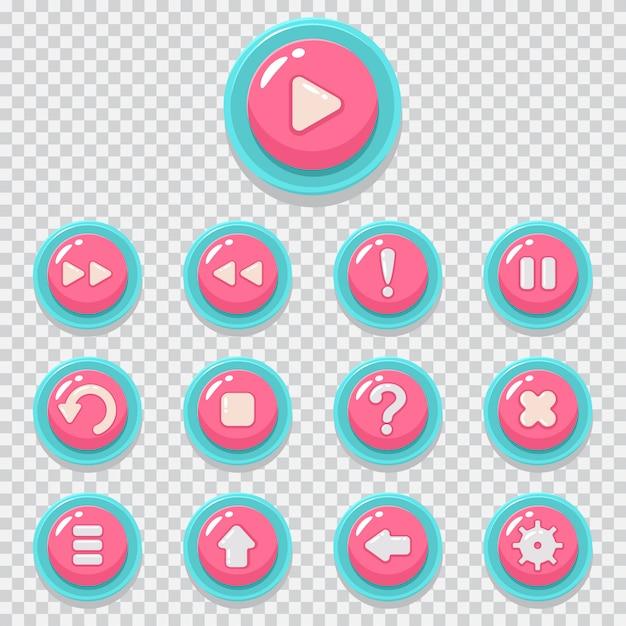 Spielknopfvektor-karikaturikonen eingestellt. webelement für bewegliche app lokalisiert auf transparentem hintergrund. Premium Vektoren
