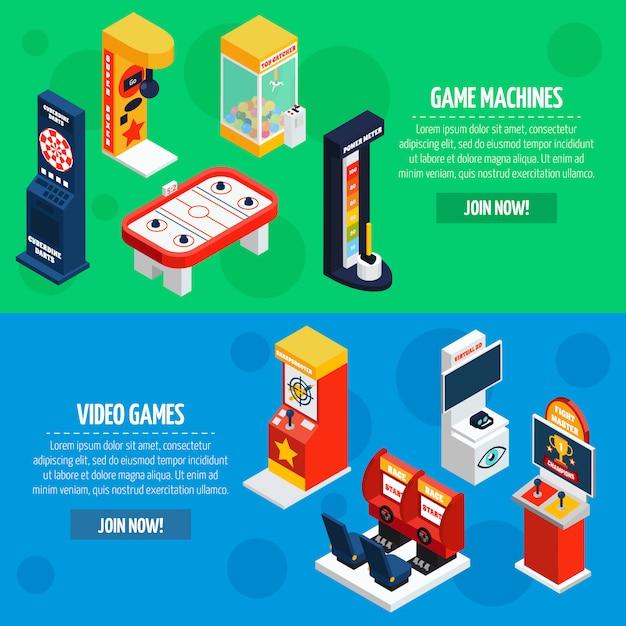 Spielmaschinen isometrische banner set Kostenlosen Vektoren
