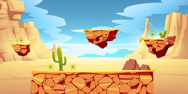 Spielplattformen auf wüstenlandschaft Kostenlosen Vektoren