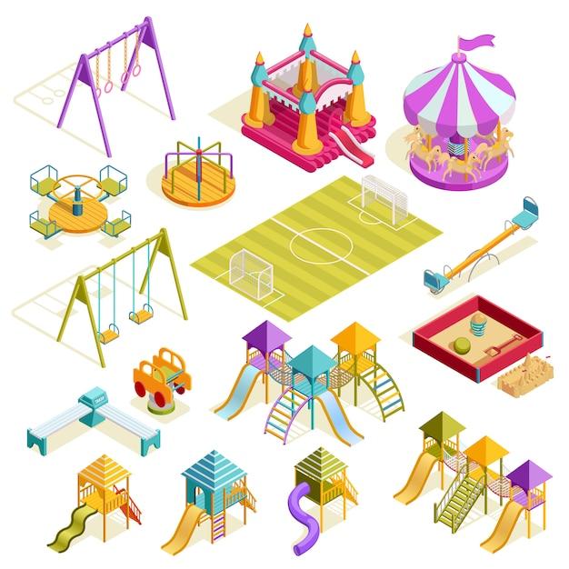 Spielplatz isometrische sammlung Kostenlosen Vektoren