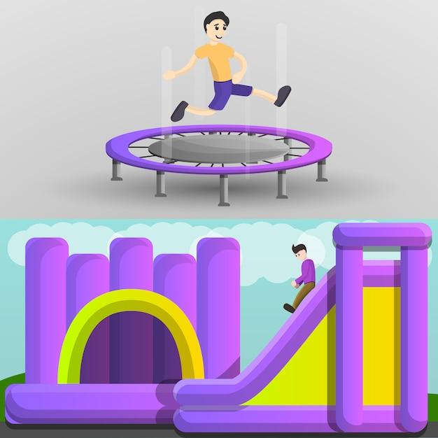 Spielplatz-trampolin-fahnensatz, karikaturart Premium Vektoren