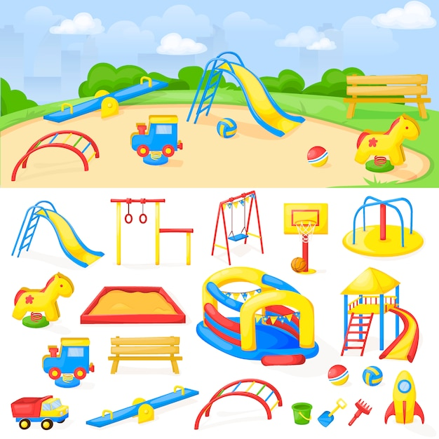 Spielplatzparkkarikaturvektorspaßspiel-kinderkindergarten Premium Vektoren