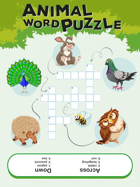 Spielschablone für tierwortpuzzlespiel Kostenlosen Vektoren