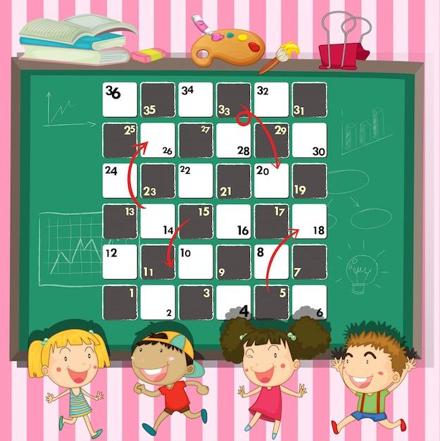 Spielschablone mit kindern im klassenzimmer Kostenlosen Vektoren