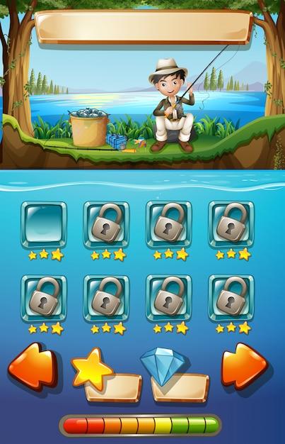 Spielschablone mit mannfischen im hintergrund Premium Vektoren