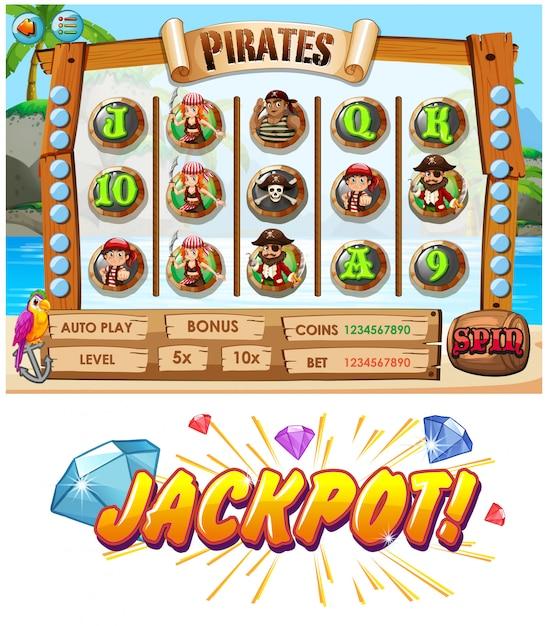 Spielschablone mit piratenmannschaftscharakteren Premium Vektoren