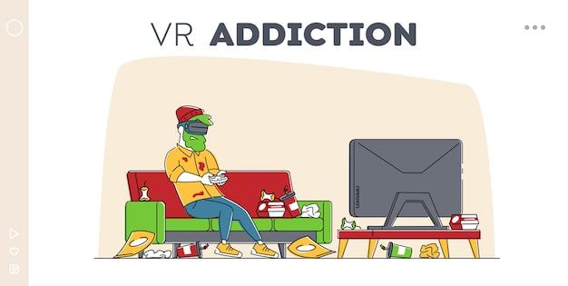 Spielsucht, virtual reality simulation hobby landing page template. Premium Vektoren