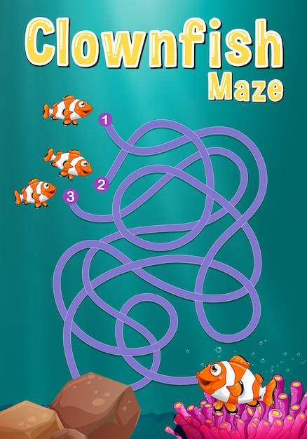 Spielvorlage mit clownfisch und korallenriff Kostenlosen Vektoren