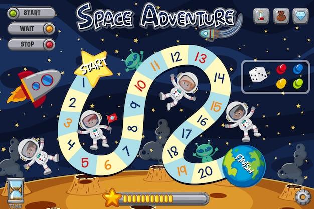 Spielvorlage mit vier astronauten und zwei außerirdischen Premium Vektoren