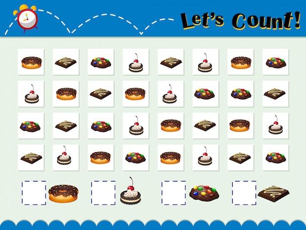 Spielvorlage zum zählen von desserts Kostenlosen Vektoren
